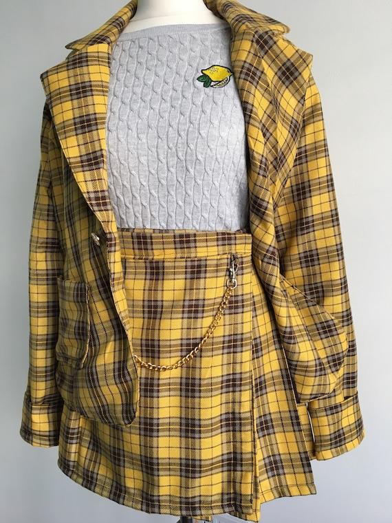 order x Dionne Cher amp; Skirt Pleated Blazer Set Clueless Suit Inspired Pre Tartan OBdqUnU
