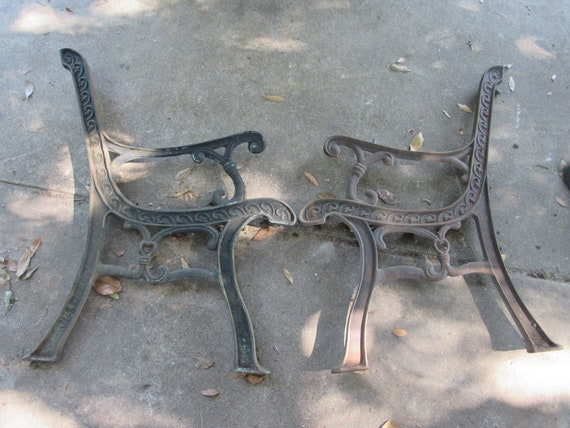 Groovy Iron Park Bench Ends Salvage Repurpose Ornate Lanai Bench Chair Garden Mud Room Patio Furniture Heavy Evergreenethics Interior Chair Design Evergreenethicsorg