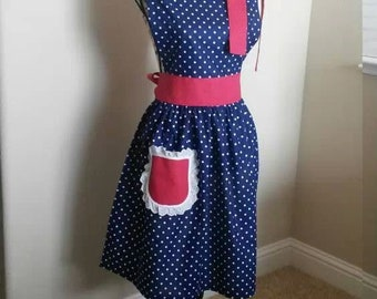 be6a30c53ee93 Womens Classic 50s theme apron kitchen 4th of July red white lace pocket  blue polka dot pin up girl cook