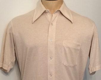 de957da5ca0 Vintage MENS 70s Sears Golden Comfort Perma-Prest tan   white short sleeve  knit shirt
