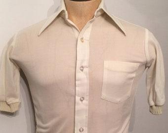 55f322ea719 Vintage MENS J. C. Penney Towncraft ivory knit rockabilly short sleeve  shirt