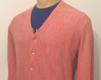 Vintage MENS 70s J.C. Penney s pink acrylic cardigan sweater 764261e0a