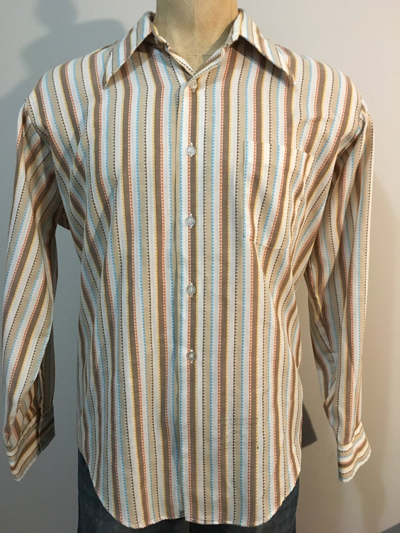 size M Vintage MENS 1970s Craigmore by Baskin shimmery ivory Qiana knit long sleeve shirt