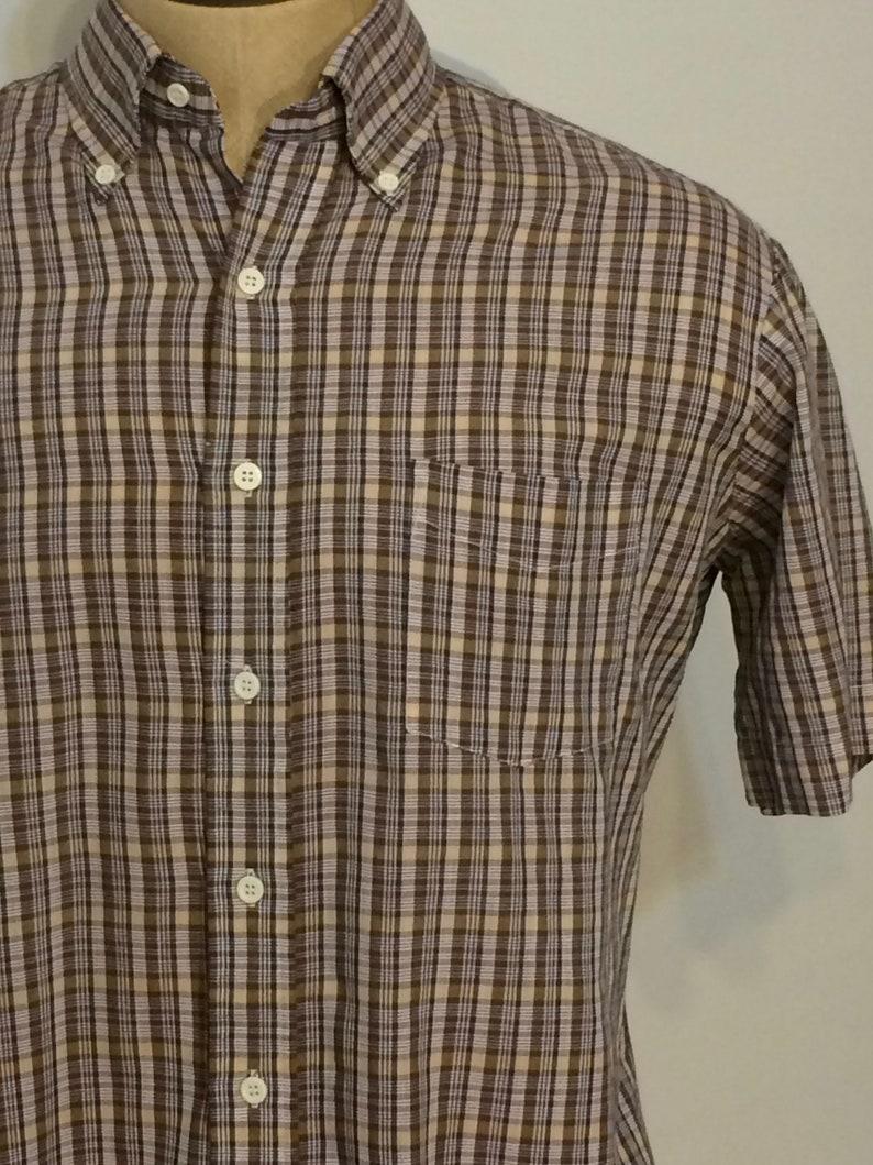 Vintage MENS 70s-80s Sears Perma-Prest short sleeve plaid shirt size L