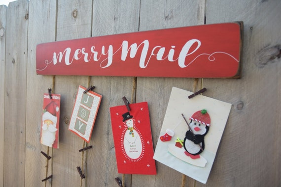 Christmas card merry mail holder card holder christmas etsy image 0 m4hsunfo