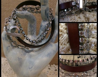 Triple Wrap Leather & Rhinestone Bracelet