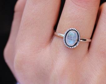 37933fc3e1 Moonstone Ring - Best Friend Gift - Sterling Silver Ring - Boho Rings -  Rings for Women - Gift for Her - Rainbow Moonstone