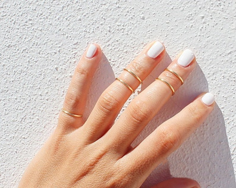 5 Gold Knuckle Rings  Gold Ring Set   Gold Stacking Rings  image 0