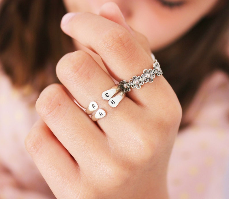 49797c94588d9 Personalized Initial Ring , Promise Ring, Silver Dainty Letter Ring ,  Custom Initials Ring , Personalized Gift, Sterling, Gold, Rose Gold
