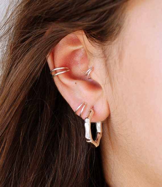 Sterling Silver Conch Piercing Double Conch Hoop Gold Etsy