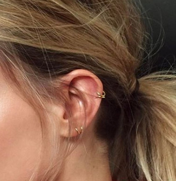 9ct Gold FISH Ear Cartilage Stud Earring Helix Stud ~ Solid 9k Gold