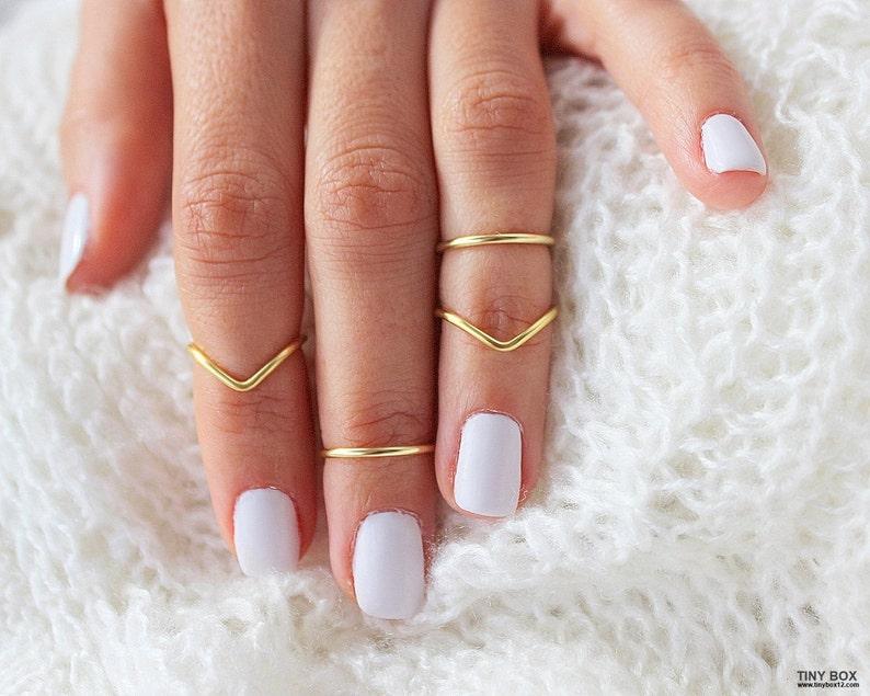 4 Gold Knuckle Ring Set