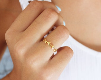 Leaf Nature Ring, Dainty Gold Ring, Minimalist  Ring