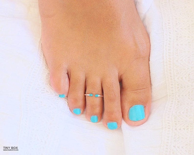Open Toe Ring  Turquoise Toe Ring  Foot Jewelry  Sterling image 0