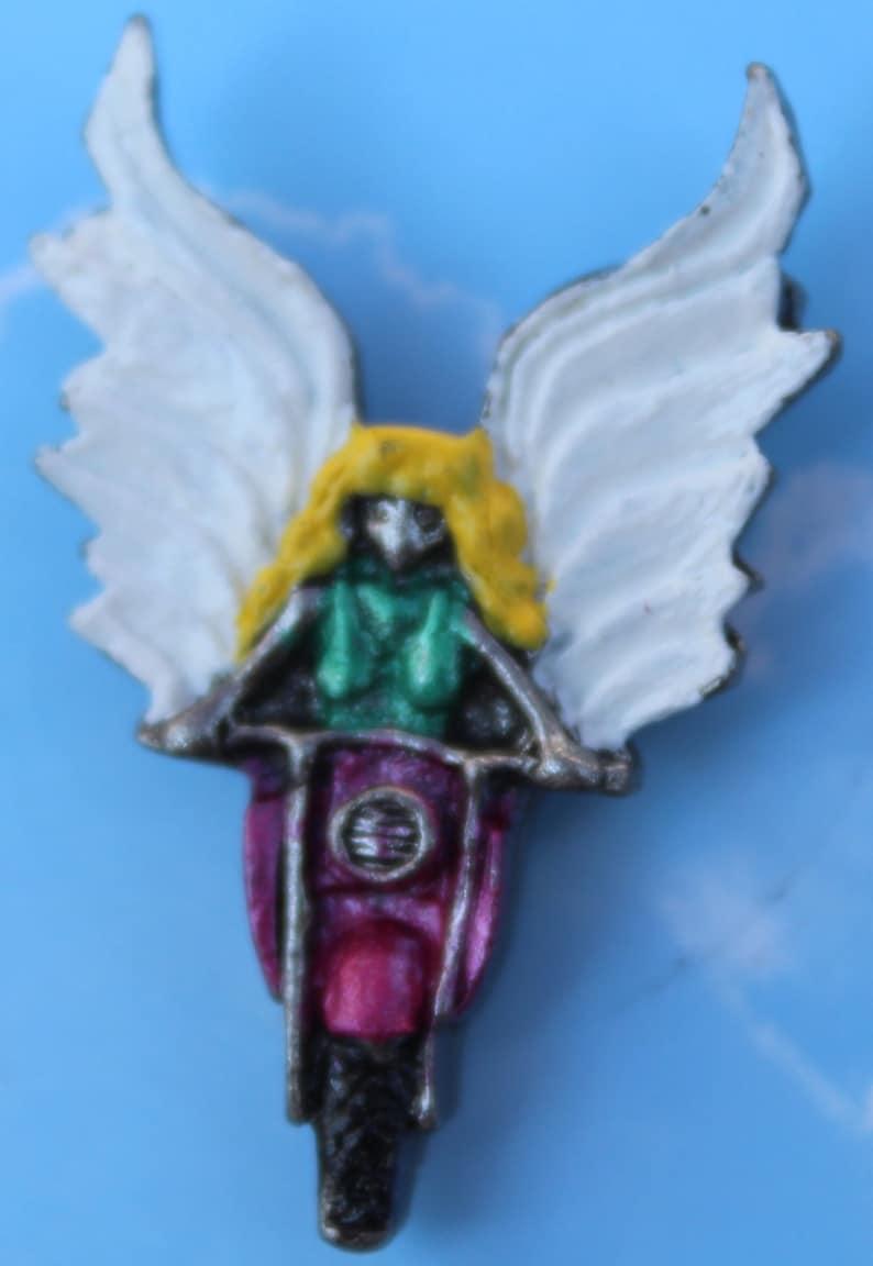Lady Rider Angel Hand Painted Guardian Angel Pins - MP-8975-LADYRIDER-MGA18