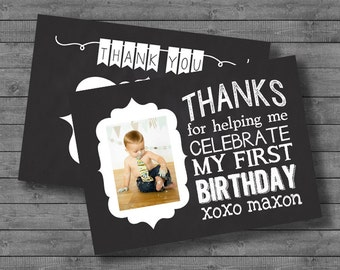 Thank You Chalkboard Birthday Card - Personalized - Photo - Digital - 5x7