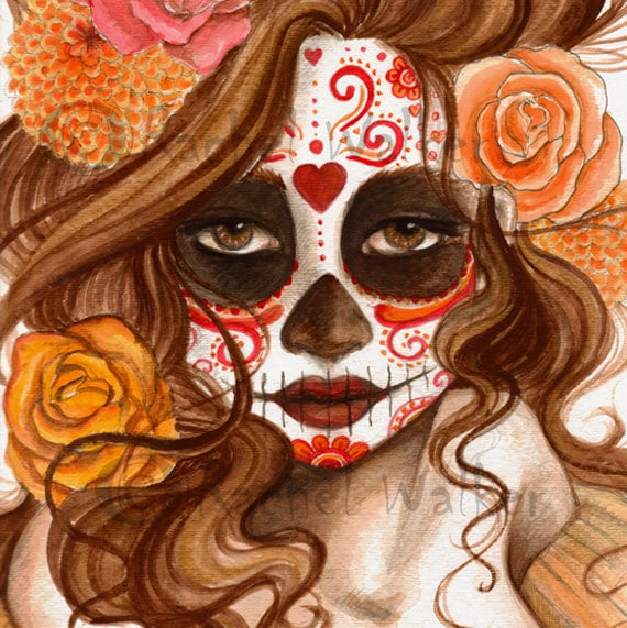Beautiful Death Day Of The Dead Girl With Roses Etsy