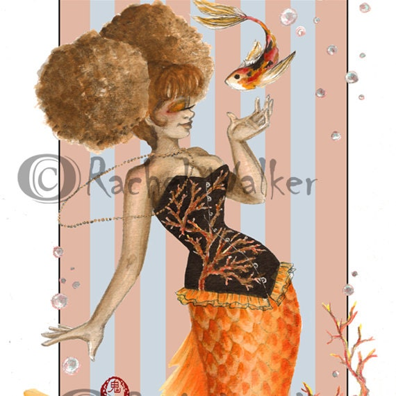 Coral Corset Mermaid Cute Girl With Afro Puffs Goldfish Etsy