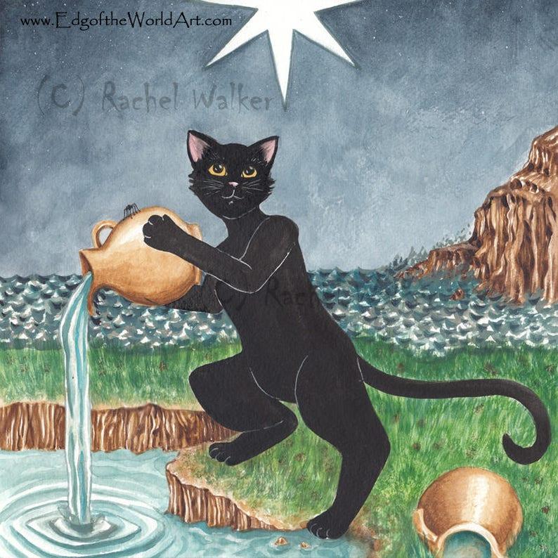 Spookie the Cat Tells the Future, The Star, Major Arcana, black cat, magic,  tarot cards, fourtune telling, indie, Tarot deck, Rachel Walker