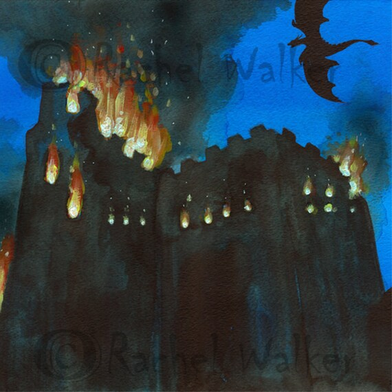 Dark Age Medieval Castle Fire Flames Dragon Night Sky Etsy