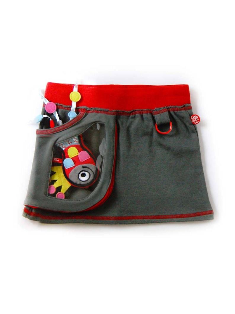 Miniskirt window bag  happy fish Gray