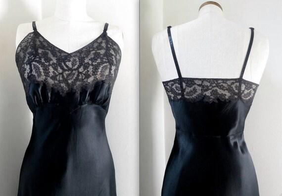 Vintage lingerie 1940 FISCHER black rayon satin fu