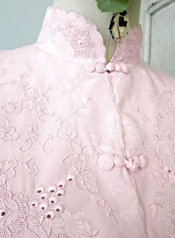 Vintage lingerie pink silk floral jacquard Chinese 2-pc.  dbf637b5b