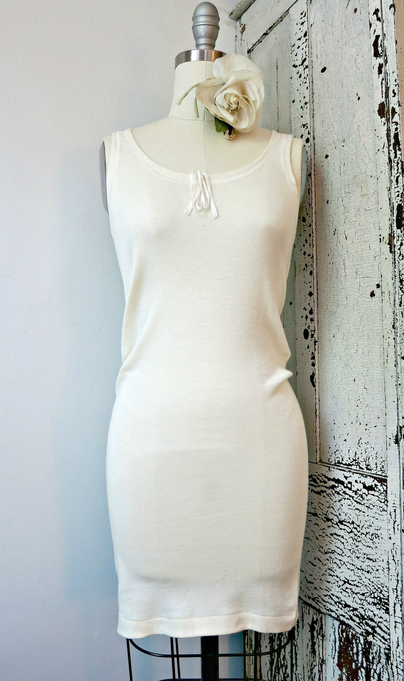 19e8575d607151 Vintage lingerie VEDONIS 1940s ivory cotton wool tank style