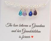 Grandmother Birthstone Bracelet, Birthstone Charm Necklace, Grandmother Gift, Grandchildren 39 s Birthstones, Christmas Gifts for Grandma