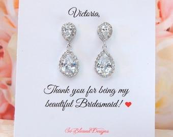 d9616d6c5 Custom Bridesmaid Gift, Teardrop Bridesmaid Earrings, Crystal wedding  earrings, Personalized bridesmaid gifts, Cubic Zirconia earrings