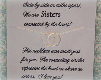 SISTERS Necklace, Christmas gift, Sister jewelry, Friendship, Inseparable Rings, Sterling Silver, Best sister ever, Birthday gift