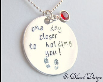 One Day Closer, Hand Stamped deployment jewelry, Military Wife necklace, Armed Forces, Sterling Silver, Combat Boots, Deployment Support