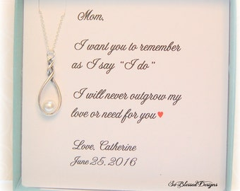 Mother of the Bride Gift, Mother of the Groom gift, Mother of the Bride jewelry, wedding jewelry, Infinity pearl necklace