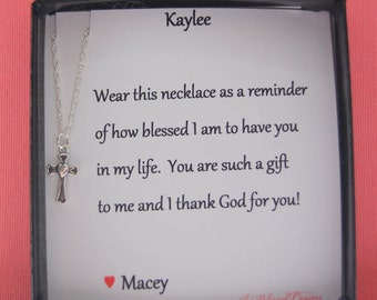 Best Friend Necklace Small Cross Pendant Friendship Card Jewelry Birthday Christmas Baptism Thank You