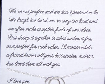 Gift For SISTER SISTERS Necklace Sister As Maid Of Honor Birthday Sisters POEM Connecting Unending Circles