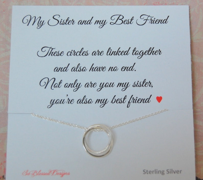 Sister Necklace Birthday Gift Wedding For