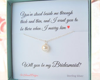 Freshwater Pearl Bridesmaid necklace, Bridesmaid gifts, Pearl necklace, Bridal party gifts