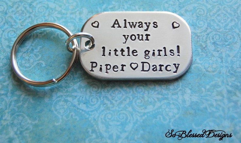 Gifts for DAD, Daddy Keychain, Always your little girls, New Dad Keychain,  Personalized Dad Gift, Dad Birthday Gift, Father of the Bride