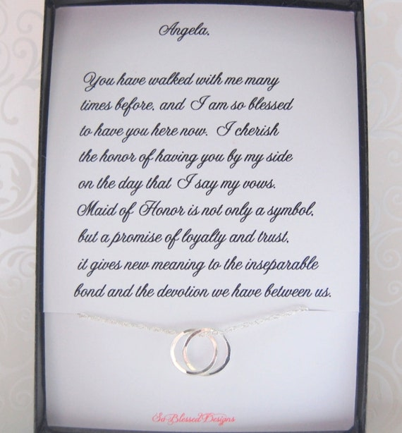 Maid Of Honor Gift Maid Of Honor Necklace Thank You Gift To