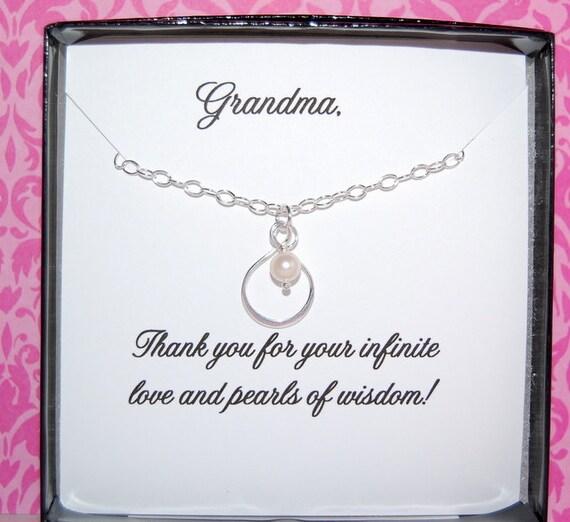 Grandma Necklace For Grandma Thank You Grandma Gift Message Etsy