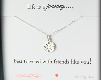 Graduation gift for friends, compass necklace, friendship jewelry, graduation gift ideas, college graduate, friendship necklace, compass