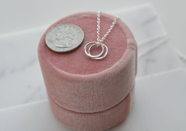 2 Interlocking Circles Mom Gift Gift Idea Holiday Gift Mother Christmas Present Mom Gift Christmas Gift for Mom Necklace Jewelry