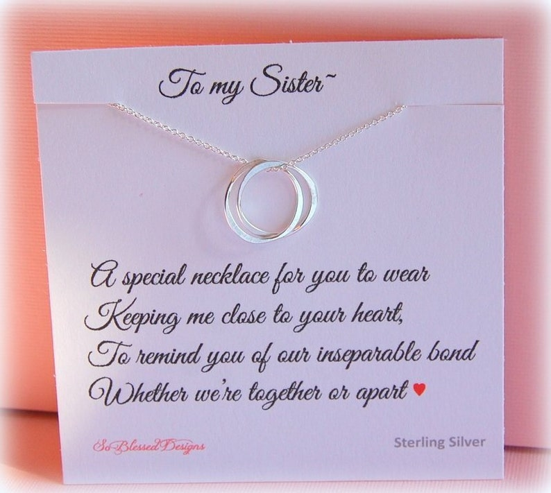 Sister Necklace Silver Birthday Gifts For Sisters