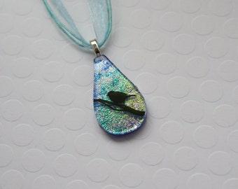FUSED GLASS PENDANT, Teardrop Pendant, Dichroic Glass Jewelry, Bird Necklace, Glass Jewelry, Glass Pendant, Bird Pendant