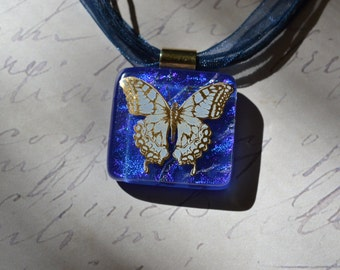 Butterfly Pendant - Glass Pendant - FUSED GLASS JEWELRY - Blue Pendant - Dichroic glass jewelry - Butterfly Necklace