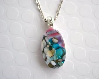 Pebble Pendant - Reactive Glass Jewelry - Reactive Pendant - Glass Necklace -  FUSED GLASS JEWELRY - Blue Glass Necklace - glass jewelry