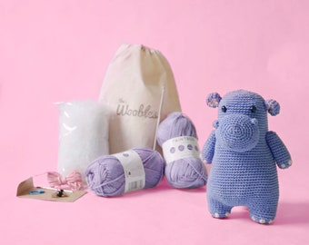 Hippo Crochet Kit by The Woobles - Intermediate Amigurumi Kit - Gift for Crocheters - DIY Animal Plushie Kit Gift - Crochet Kit with Yarn