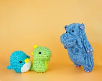Beginner Learn to Crochet Kit Penguin Dinosaur Hippo by The Woobles - Easy First Starter Kit - Crochet Plushie Kit - DIY Amigurumi Craft Kit