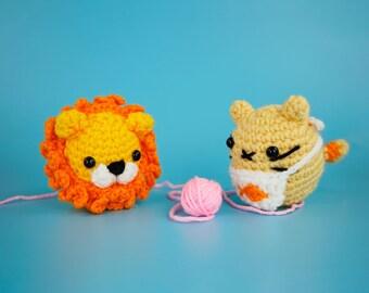 Lion and Kitty Cat Kitten Beginner Crochet Kits by The Woobles - Easy First Starter Kit - Crochet Plushie Kit - DIY Amigurumi Craft Kit