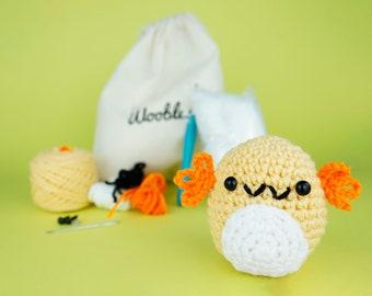 Beginner Crochet Axolotl Salamander by The Woobles - Easy First Crochet Starter Kit - Crochet Plushie Kit - Amigurumi Kit - DIY Craft Gift